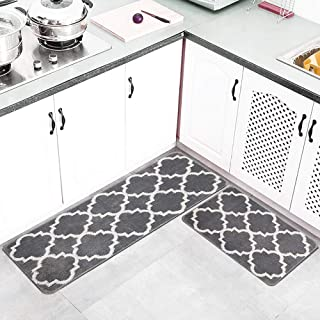 HEBE Kitchen Rug Set of 2 Pieces Non Kid Machine Washable Kitchen Rug and Mat Sets Accent Throw Rugs Runner for Entryway Kitchen and Bedroom Grey(18