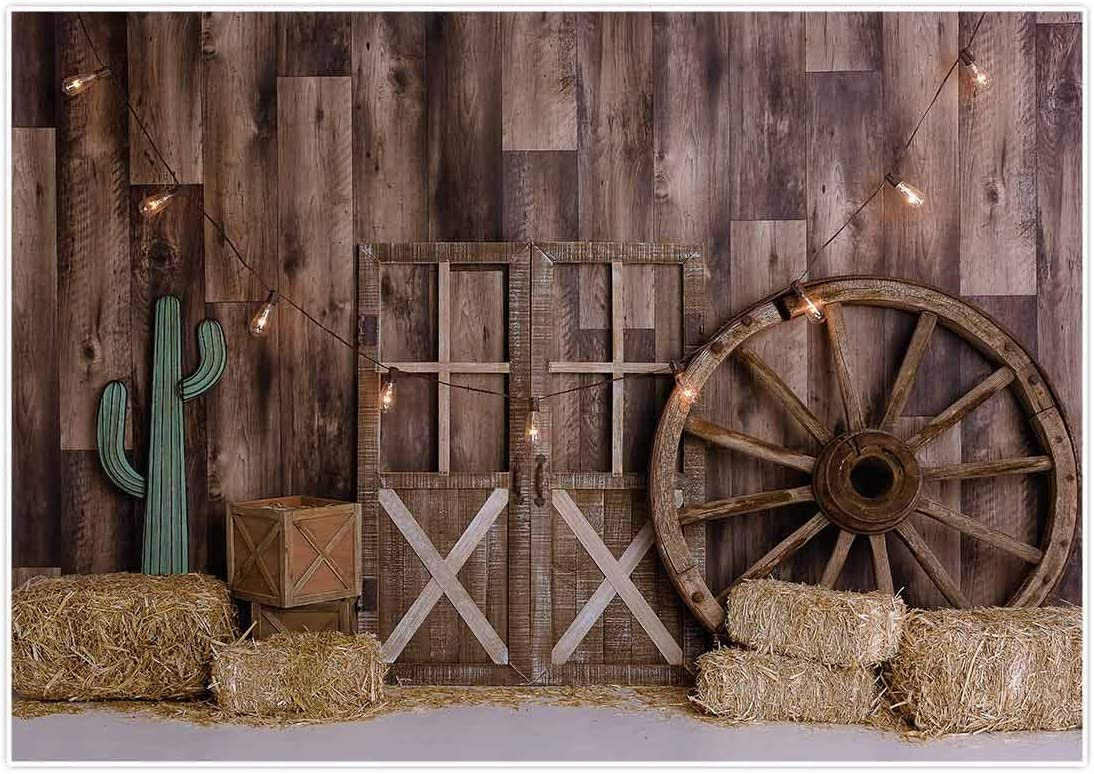 Allenjoy 7x5ft Western Cowboy Backdrop for Portrait Photography Pictures Wild West Wooden House Barn Door Vintage Kids Boy Child Baby Shower Birthday Party Supplies Decorations Background Banner Props