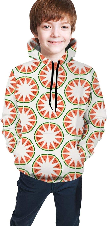 Boys Girls Hoodie, Watermelon Circle Unisex 3D Printing Teenager Sweatshirt Kids Children's Sweater for Age 7-20