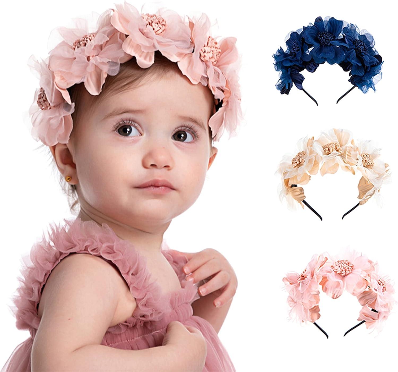 Soarsue Rose Flower Headband Children Baby Hair Band Hair Accessories Headpiece Wedding Festival Party Photo Props