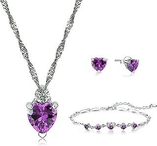 925 Sterling Silver Heart Pendant Necklace Stud Earrings Bracelet Set for Women Teen Girls Gift