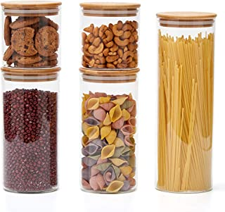 EZOWare 5pc Airtight Glass Food Storage Jars Canister Kitchen Container Set with Natural Bamboo Lids for Candy, Cookie, Rice, Sugar, Flour, Pasta, Nuts