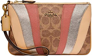 COACH Women's Coated Canvas Signature Wave Patchwork Small Wristlet