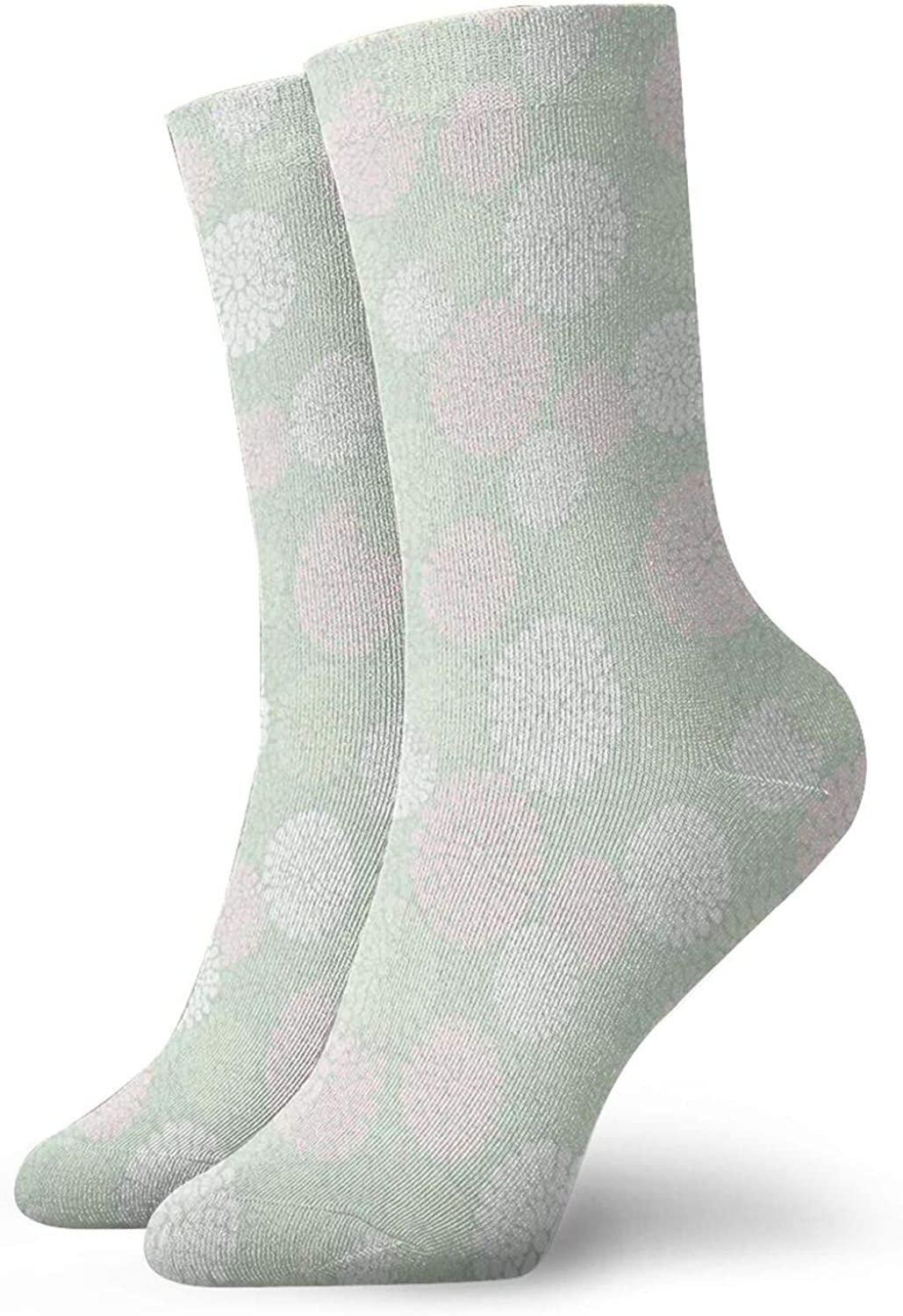 Compression High Socks-Dahlia Flowers In Pastel Tones Spring Blooms Theme Floral Pattern Best for Running,Athletic,Hiking,Travel,Flight