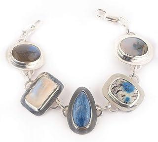 Pulsera de mix de piedras y Plata de Ley en colores blanco y azul y 18 cm de largo