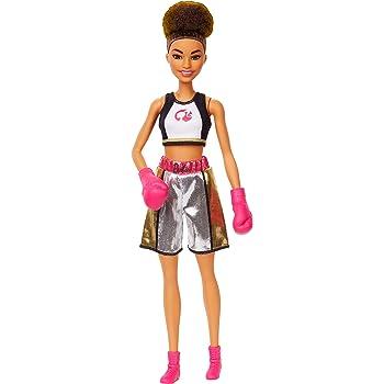 Amazon.es: Barbie Quiero Ser Boxeadora, Muñeca Morena con Guantes ...