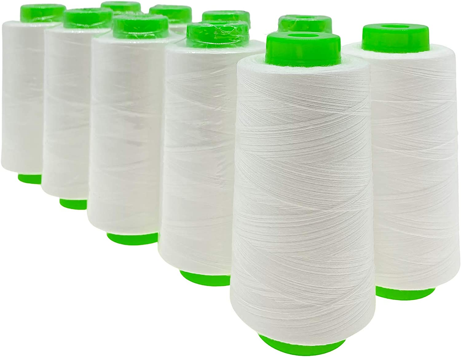 FAATCOI 12 X 3000 Yard Serger Thread Cones12 Spools of White Sewing Thread - 100% Polyester All Purpose Bobbins Set for Sewing Hand and Machine Quilting