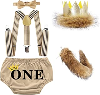 IZKIZF Baby Boys 1st Birthday Wild One Costume Cake Smash Outfits Apricot Bloomers Suspenders Bow Tie Crown Tail Photo Pro...