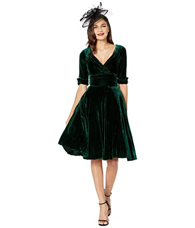 Unique Vintage 1950s Delores Swing Dress with Sleeves (Green Velvet) Women