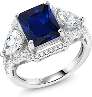 Gem Stone King Emerald Cut Blue Simulated Sapphire 925 Sterling Silver Ring (4.79 Cttw, Available in size 5, 6, 7, 8, 9)