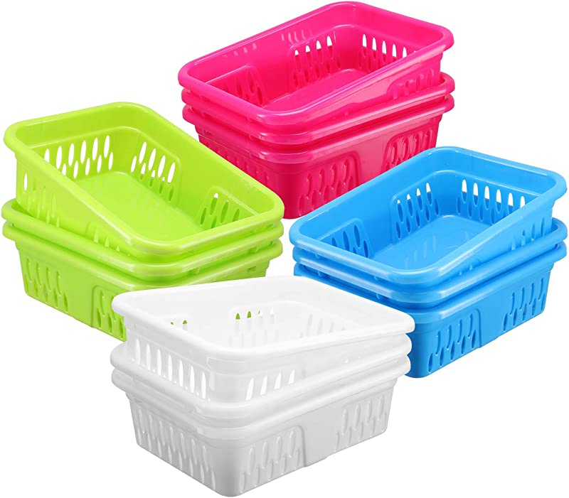 Bright Plastic Organizer Bins 12 Pack Small Colorful Storage Trays Modular Baskets Holders For Classroom Drawers Shelves Desktop Closet Playroom Office And More 4 Colors BPA Free