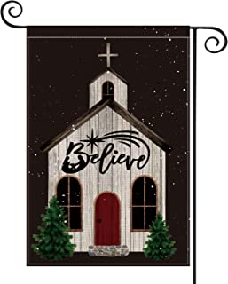 AVOIN Christmas Church Believe Garden Flag Vertical Double Sized, Winter Holiday Religious Burlap Yard Outdoor Decoration 12.5 x 18 Inch