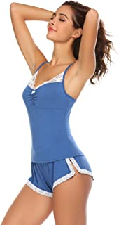 Pajamas Set Womens Lace Knit Nightwear Lingerie Gown Sleep Cami PJS Set with Shorts