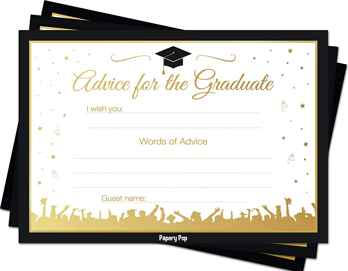 2019 Graduation Advice Cards for The Graduate (50 Pack) - Graduation Party Games Ideas Activities Supplies - Grad Celebration - High School or College