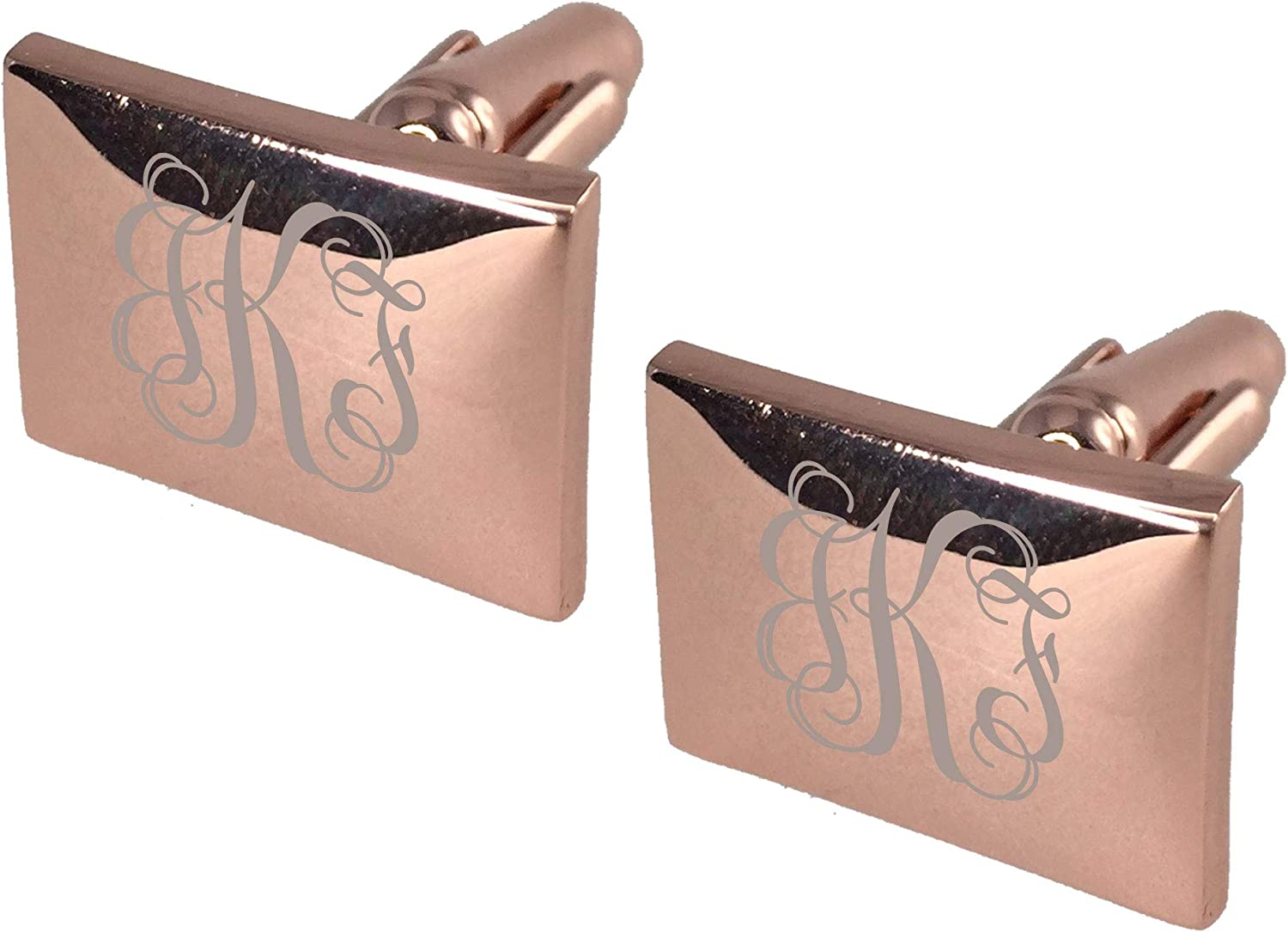 Personalized Visol Fedir Rose Gold Squared Cufflinks with Free Laser Engraving