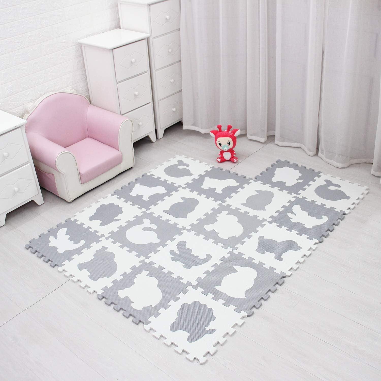 Interlocking Floor Mats for Children meiqicool Foam Play Mat Tiles-18 Pack EVA Multicoloured Foam Tiles Puzzled Soft Foam Kids Play Area Mat 30x30cm grey black White 51HBH