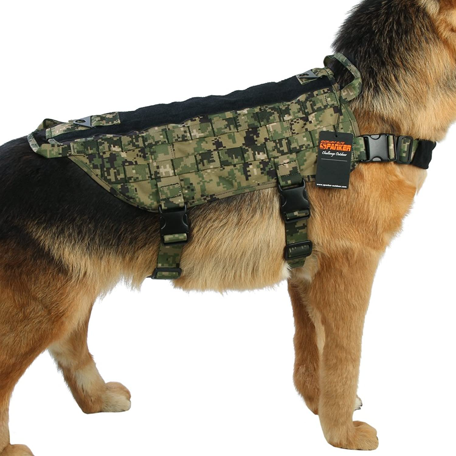 Excellent Elite Spanker Tactical Dog Harness Nylon Molle Patrol Military Training Dog Vest Harness Small Medium and Large Dogs(AOR2L)