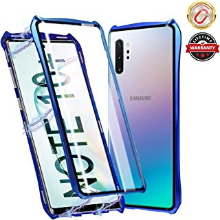 Magnetic adsorption Case for Samsung Galaxy Note 10 Plus 5G, Cute Bat Style Double Sided Tempered Glass Cover with Metal Frame, 360 Full Body Protective Case for Samsung Galaxy Note 10+(Blue)
