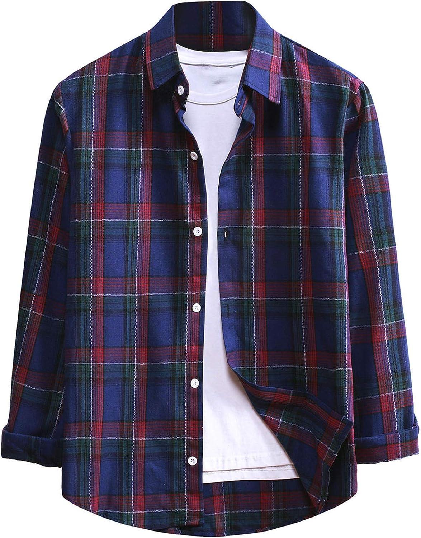 Men's Plaid Shirts Long Sleeve Regular Fit Button Down Casual Tops Comfort Standard-Fit Shirts