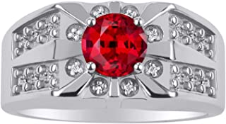 RYLOS 14K White Gold Gorgeous 7MM Round Shape Gemstone Color Stone and Genuine Sparkling Diamond Ring Set in Classic Starb...