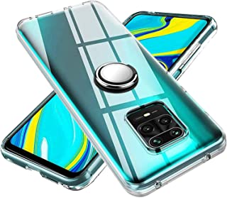 Xiaomi Redmi Note 9s ケースリング 透明 クリア リング付き tpu シリコン スリム 薄型 米軍MIL規格 携帯ケース 耐衝撃 レンズ保護ト 耐久 一体型 防塵 全面保護 Xiaomi Redmi Note 9s 保護ケース(クリア)