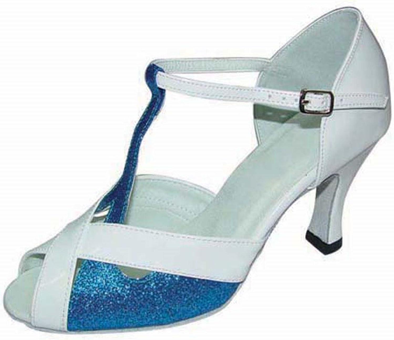 YFF Geschenke Frauen Dance schuhe Ballroom Latin Dance Tango Tanz schuhe 7CM,Blau,39