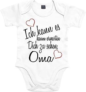 Mister Merchandise Mister Merchandise Baby Body Ich kann es kaum erwarten Dich zu sehen Oma Strampler liebevoll bedruckt Wiedersehen Weg Reise Weiß, 0-3