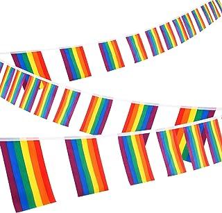 Whaline Lesbian Gay String Rainbow Flags 30 Feet Rainbow Flag Banner LGBT Pride Flag String Indoor/Outdoor Gay Lesbian Par...