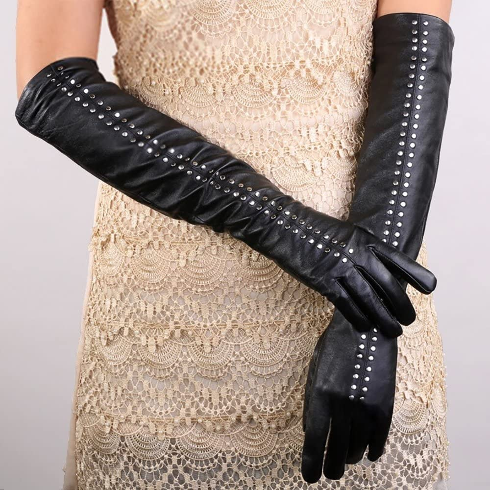 Glamorstar Women's 50cm Long PU Leather Winter Touch Screen Rivet Gloves