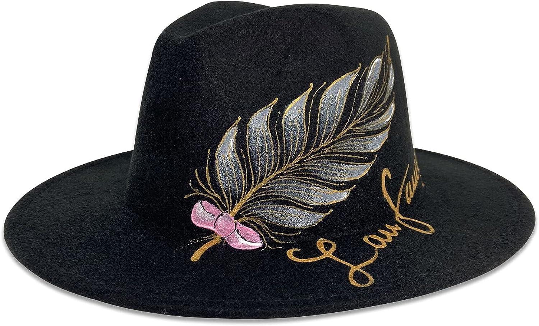 Gossifan Hand Drawing Fedora Hat for Women Wide Brim Panama Hat