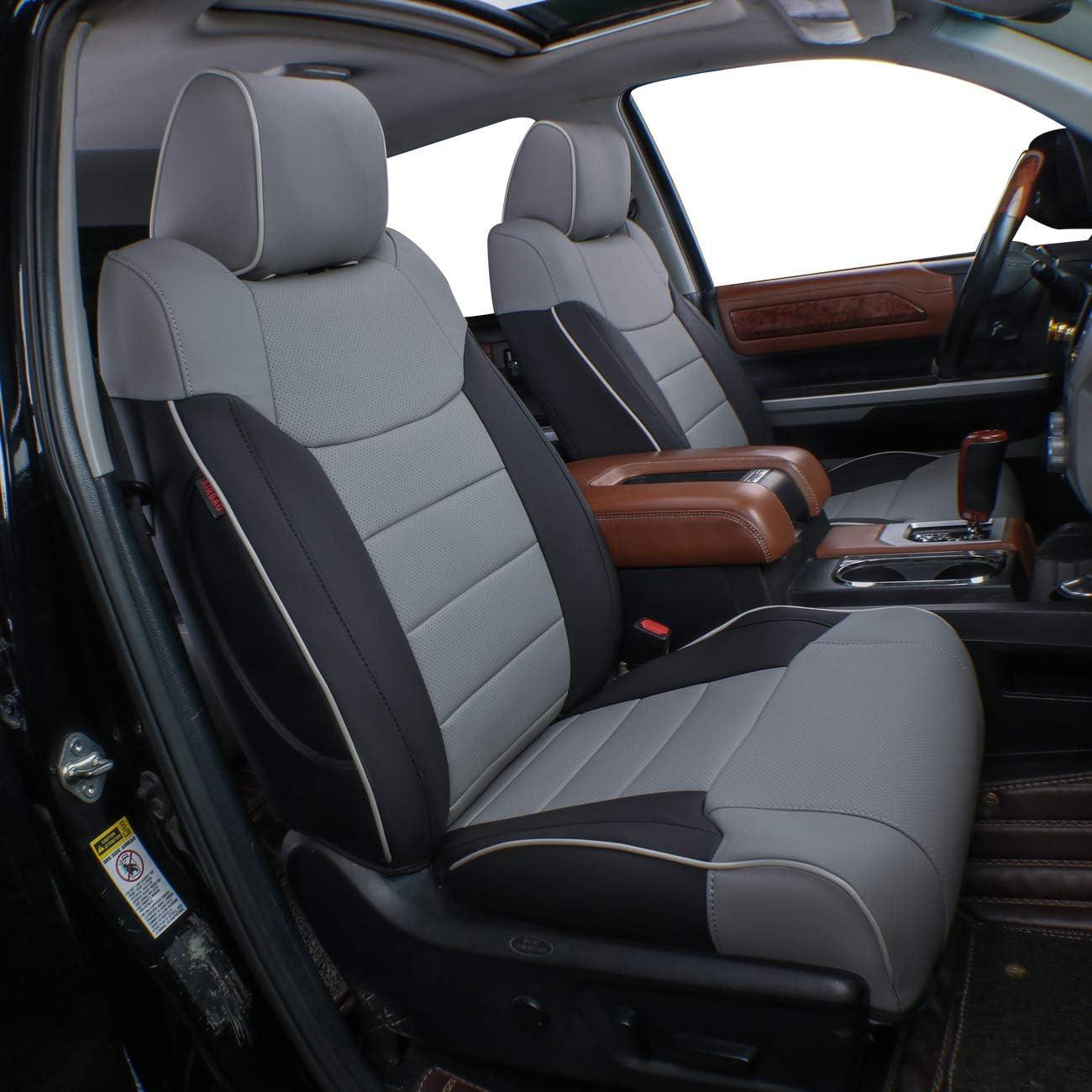 Amazon Com Ekr Custom Fit Full Set Car Seat Covers For Select Toyota Tundra Crewmax 2014 2015 2016 2017 2018 2019 2020 2021 Leatherette Black Gray Automotive