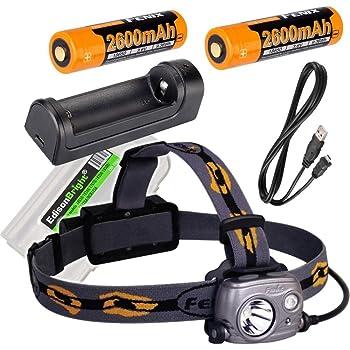 Fenix HP25R 1000 Lumen USB rechargeable CREE LED Headlamp, 2 X Fenix 18650 rechargeable Li-ion batteries,ARE-X1 charger with EdisonBright BBX3 battery carry case bundle