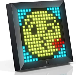 Divoom Pixoo Pixel Art Digitaler Bilderrahmen, Programmierbares 16*16 RGB LED Panel, Smart Clock mit Social Media Benachri...