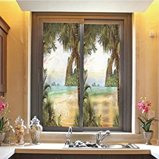 Ocean 3D No Glue Static Decorative Privacy Window Films, Palm Coconut Trees and Ocean Waves Across Mountains on Paradise Island Beach Image,17.7