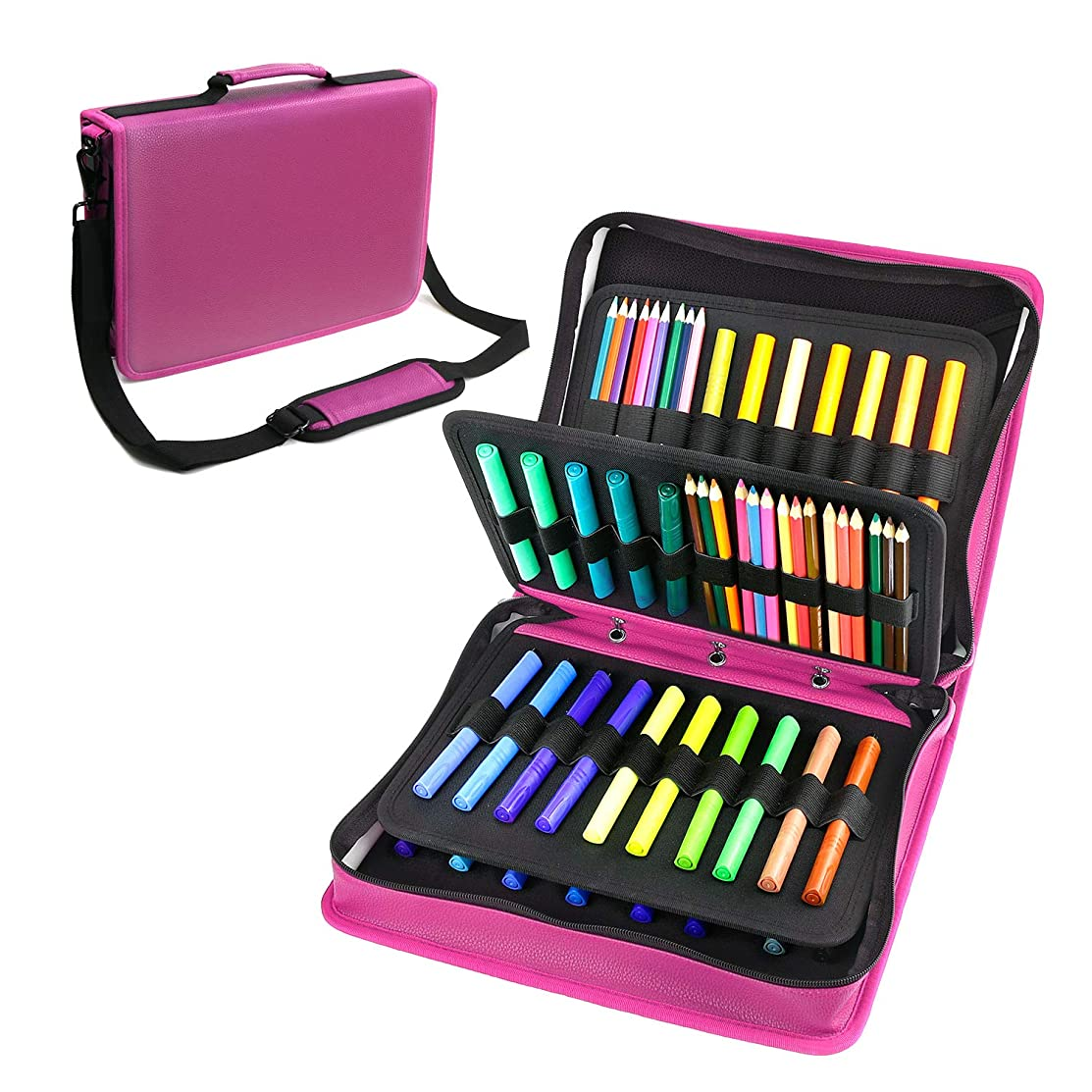 180 Colored Pencils Case / 140 Gel Pens Bag - YOUSHARES PU Leather Colored Pencil & Gel Pen Case with Zipper Holds - Artist use Supply School Large Capacity Professional Storage(Red)