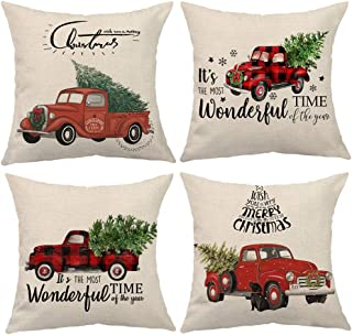 ULOVE LOVE YOURSELF Red Truck Throw Pillow Covers with Xmas Tree Winter Holiday Christmas Square Pillow Case 18x18 Inches,4Pack