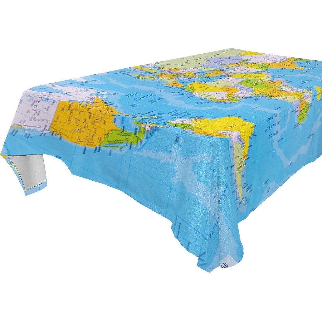メタリック体細胞ズームインするバララ(La Rose) テーブルクロス 撥水 耐熱 厚手 北欧 正方形 おしゃれ 青い 世界地図 絵柄 テーブルマット 長方形 滑り止め 汚れに耐える 家庭の食卓カバー 飾りクロス ダイニング レストラン用 150x230cm