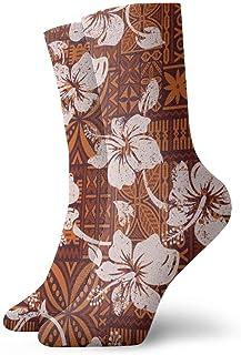 Hunter qiang, Calcetines para mujeres y hombres, tribal, vintage, hawaiano, hibisco, flores, papel pintado, hawaiano, abstracto, floral 30 cm
