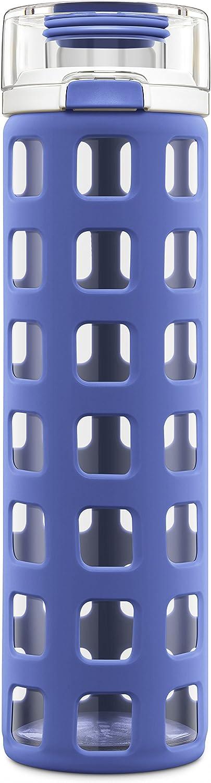 Ello Syndicate BPAFree Glass Water Bottle Flip Lid, blueee Tide, 20 oz.