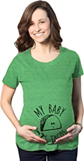 Maternity My Baby Loves Tacos Funny T Shirt Cute Announcement Pregnancy Bump Tee