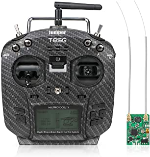 Jumper T8SG Plus V3 2.4GHZ 12CH Radio Transmitter Carbon Special Edition Hall Gimbal Multi-Protocol with R1F Receiver for Flysky Frsky RC Racing Drone Car Boat (Mode 2 Left Hand Throttle)