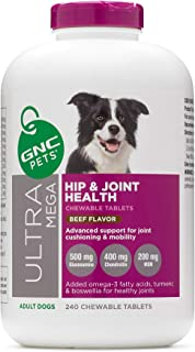GNC Pets Ultra Mega Hip & Joint Health Chewable Tablets Dog Supplement, 240 Count - Beef Flavor | Advanced Support for Joi...