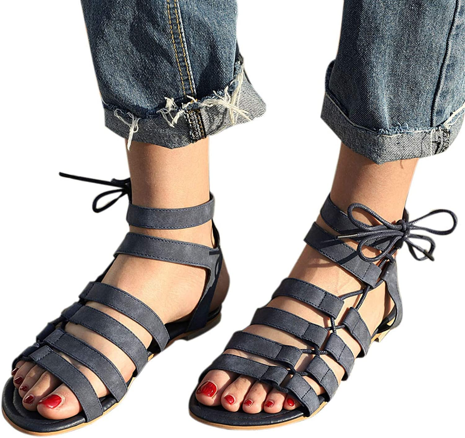Women Sandals Flat with Bohemia Leisure Lady Sandals Peep-Toe Outdoor Footwear shoes