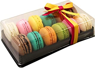 Clear and Black Base Plastic French Macarons Small Gift Boxes - Holds 12 Macarons - Cavity Size 1.76'' x 1'' - Pack of 10