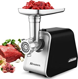 Electric Meat Grinder 2000W, Sausage Grinder with 3 Grinding Plates and Sausage Stuffing Tubes for Home Use &Commercial, S...