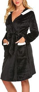 01feab864021a MAXMODA Peignoir Femme Imprimé en Polaire Robe de Chambre Velours Chaude Peignoir  de Bain avec Capuche
