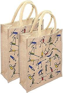 RangTeq Unisex Jute Lunch Bag with Top Zipper (Beige, 10x5x12-inches)
