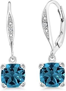 Gem Stone King London Blue Topaz and White Diamond 925 Sterling Silver Dangle Earrings 3.71 Ct Cushion Cut 7MM