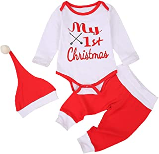 Newborn Infant Baby Christmas Outfit Long Sleeve Christmas Romper Top+Pants Leggings+Hat 3PCS Clothes Pajamas Set