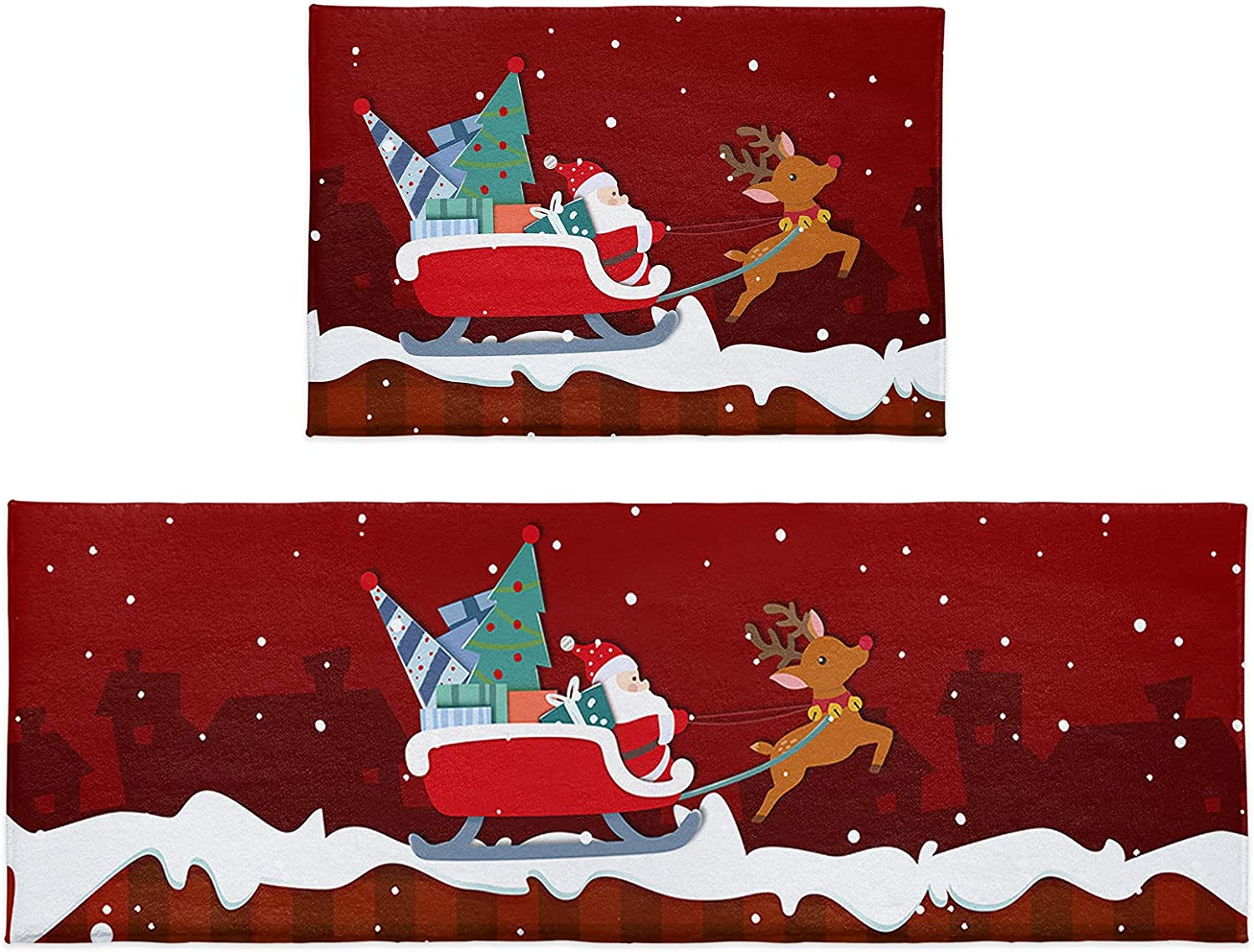 Cloud Dream Our shop most popular Home Kitchen Max 80% OFF Rug Sets 2 Tree Sa Piece Deer Christmas